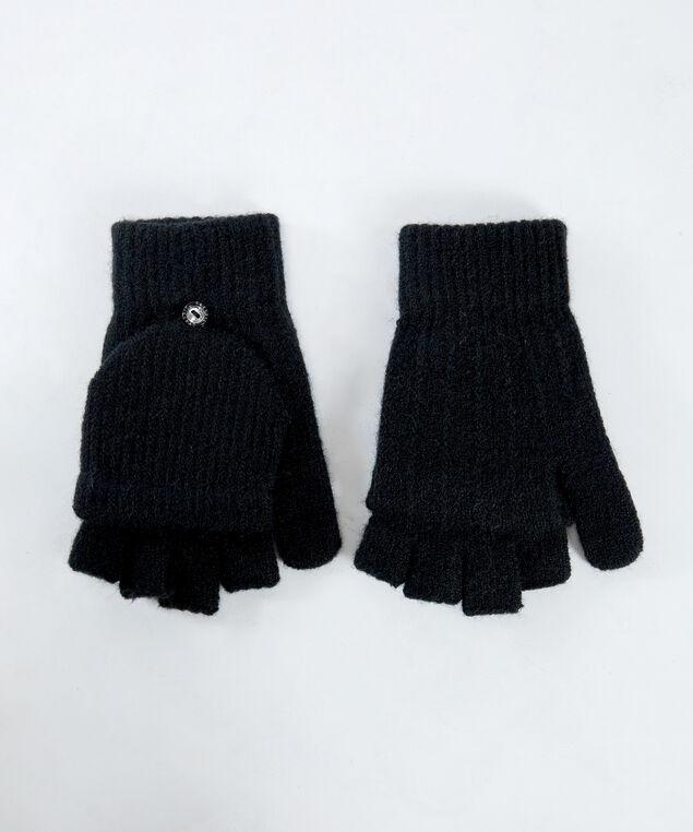 flip mittens, Black