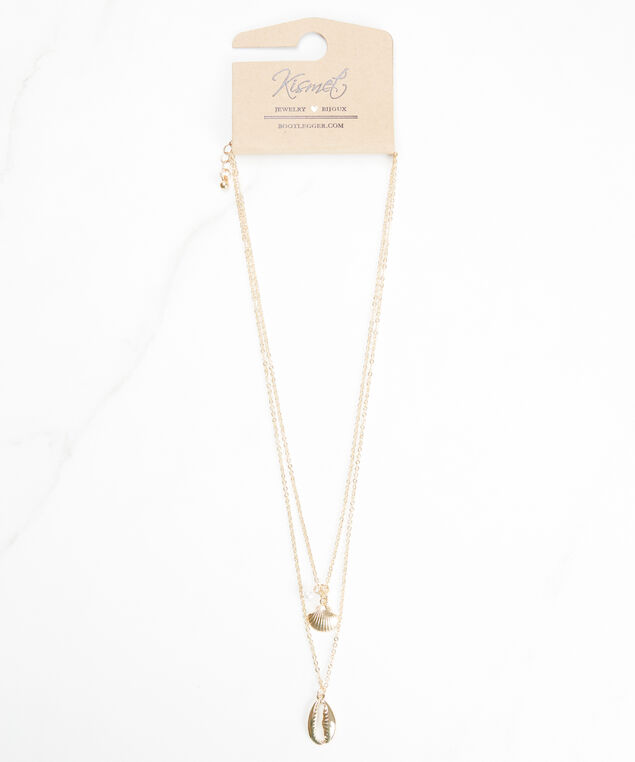 puka shell necklace, Gold
