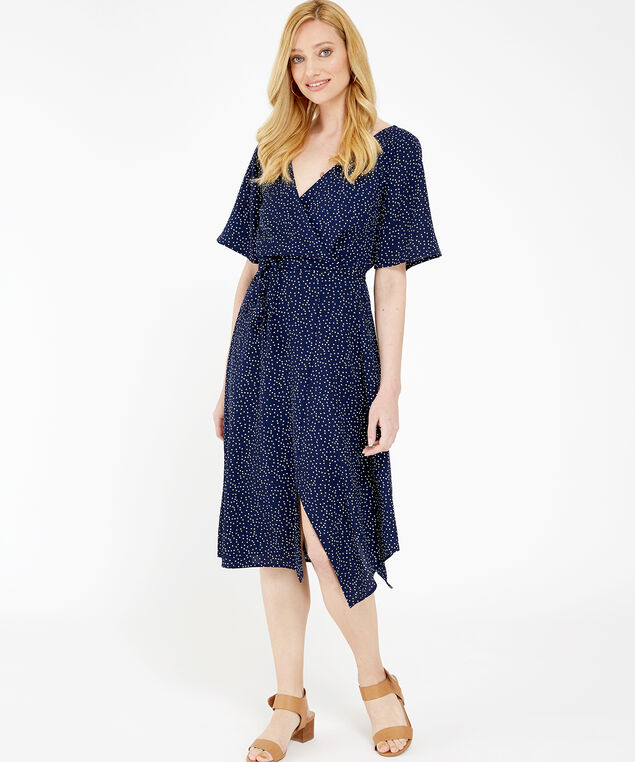 flutter sleeve wrap dress - wb, NAVY PRINT, hi-res