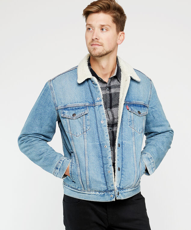 sherpa trucker jacket, Denim, hi-res