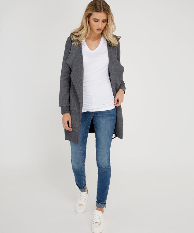 tunic length zip-up - wb, CHARCOAL, hi-res
