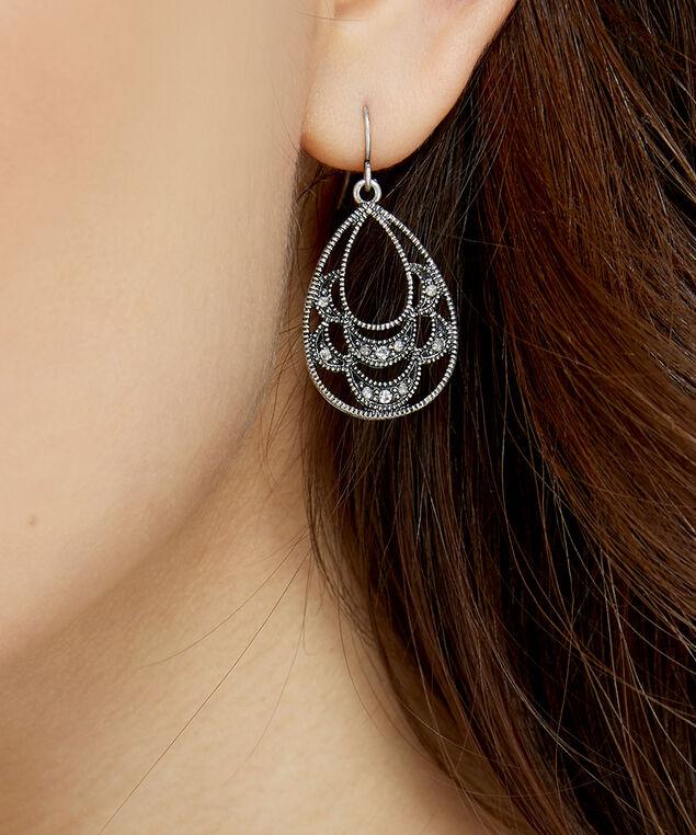 oval drop earrings, SILVER, hi-res