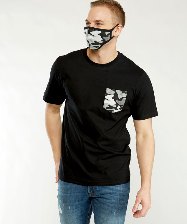 contrast tee & mask set, Black