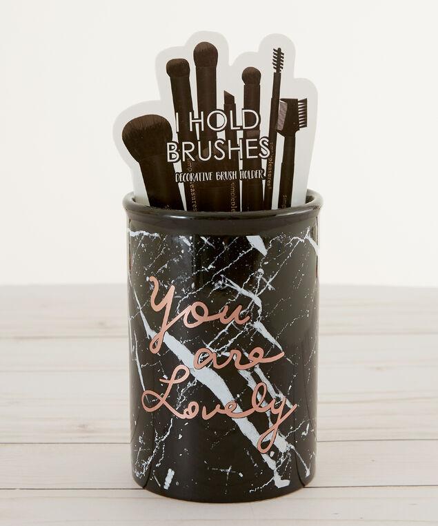 black marble makeup brush holder - wb, BLACK, hi-res