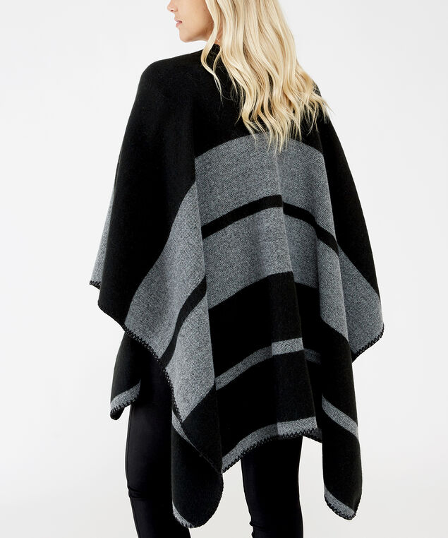 black and grey cape, black grey stripe, hi-res