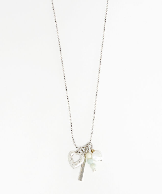 cluster heart necklace, Silver, hi-res