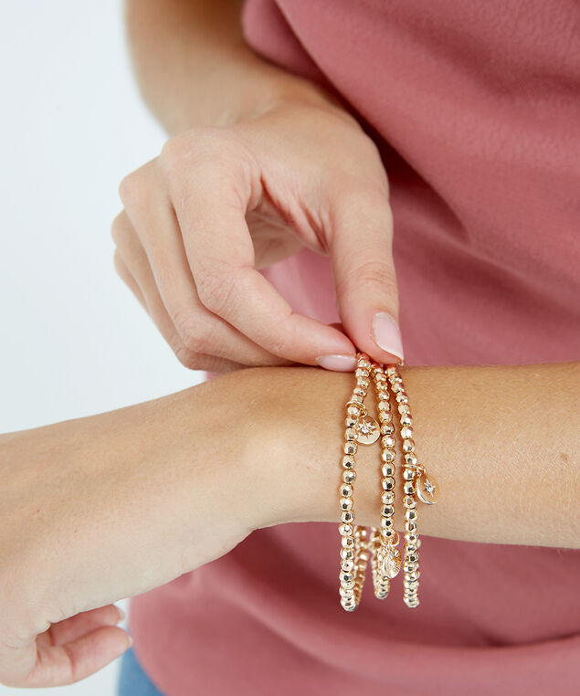 stretch bead bracelet, Gold, hi-res