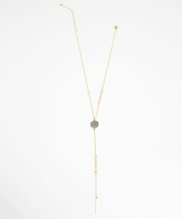 lariat stone necklace, GOLD, hi-res