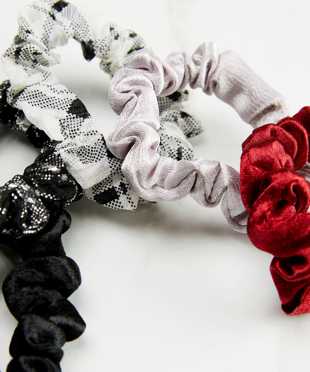 Set of 5 hair scrunchies, Red Pt, hi-res