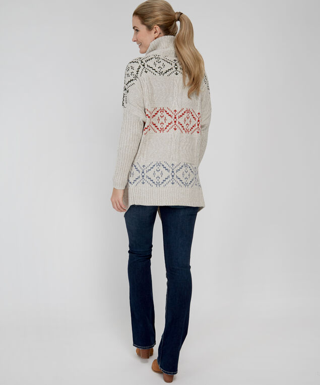 patterned wrap cardigan - wb, GREY, hi-res