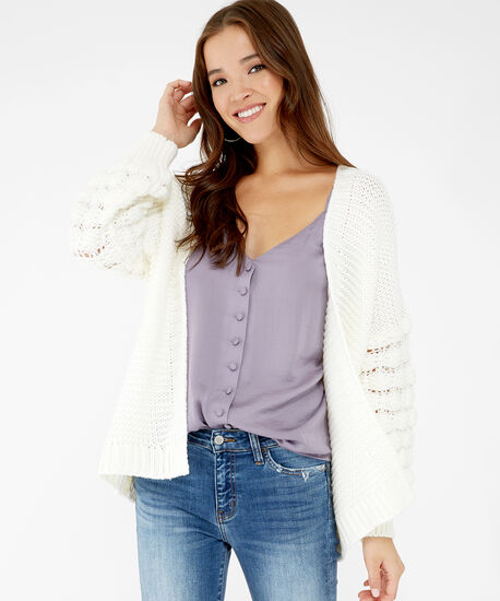 chunky knit cardigan - wb, White, hi-res