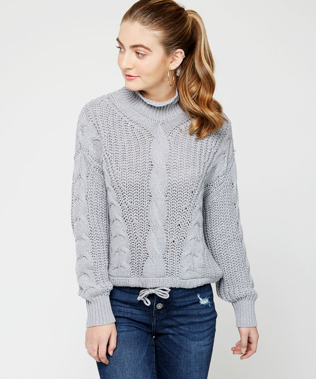 cable stitch sweater, Grey, hi-res