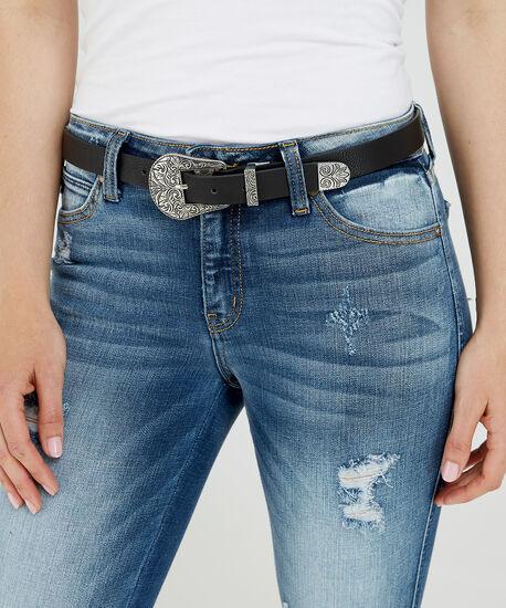 two tone skinny belt, BLACK, hi-res