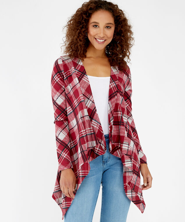 lightweight open plaid shirt - wb, red plaid, hi-res