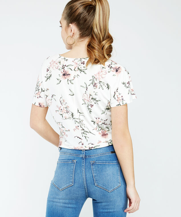 floral tie front top - wb, White print