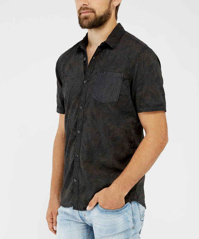 tropical print shirt - wb, BLACK, hi-res