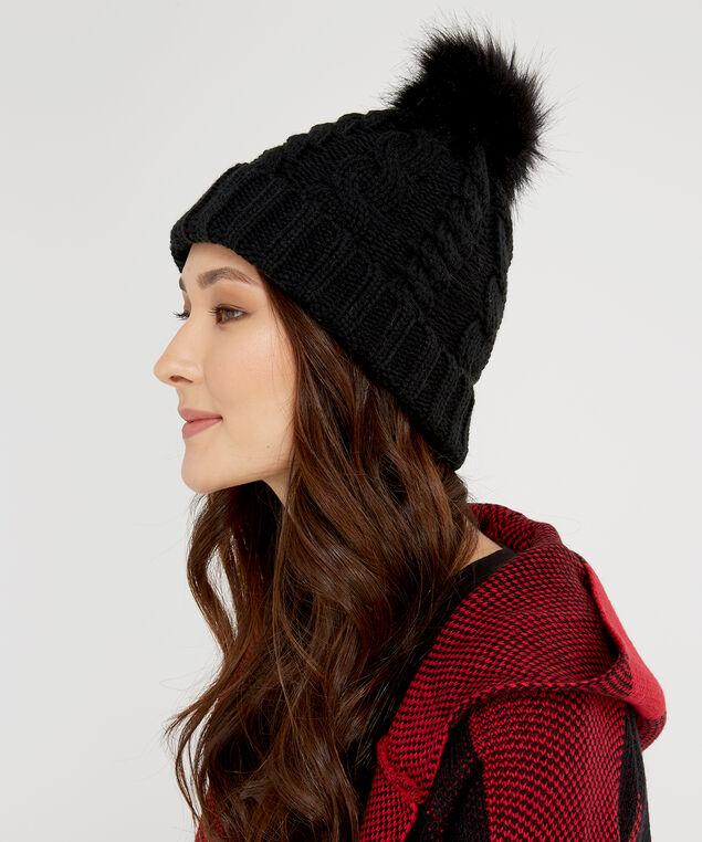 ladies knit toque, BLACK, hi-res