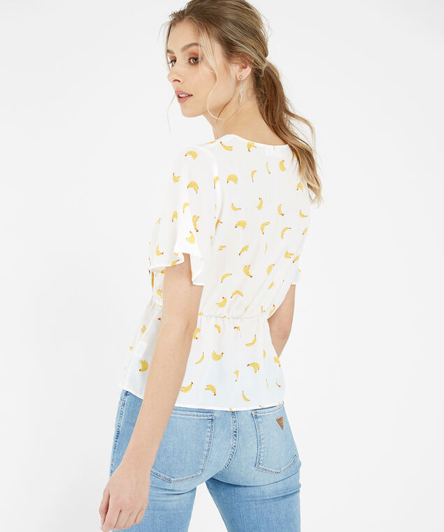 banana print top - wb, WHITE BANANA, hi-res