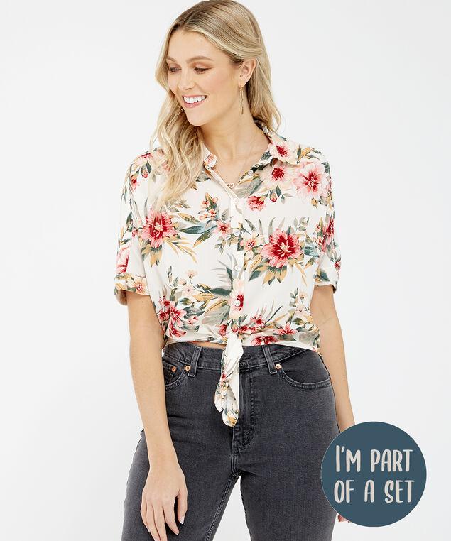 tie front shirt - wb, Floral, hi-res