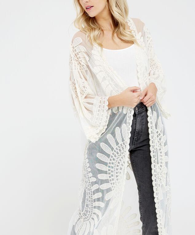 sunflower lace kimono, Ivory, hi-res