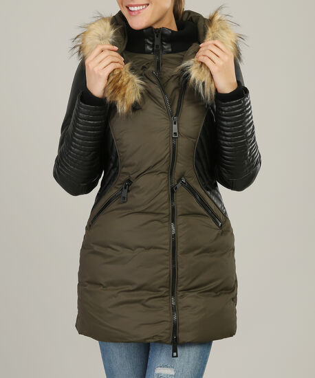 faux fur hood parka with contrast sleeve - wb, OLIVE, hi-res