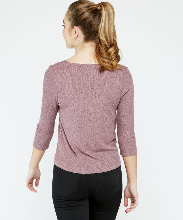 3/4 sleeve button top - wb, Lilac, hi-res