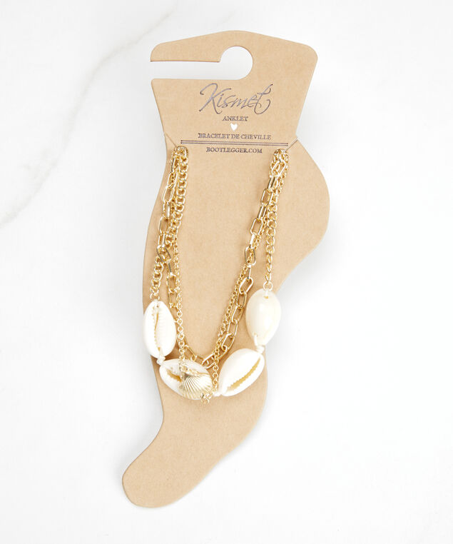 shell and charm anklets, Gold
