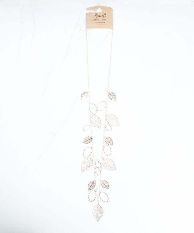 stationed leaf necklace, Rose