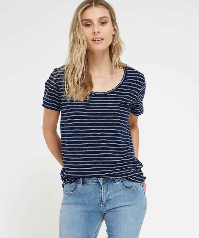 striped pocket tee, NAVY STRIPE, hi-res