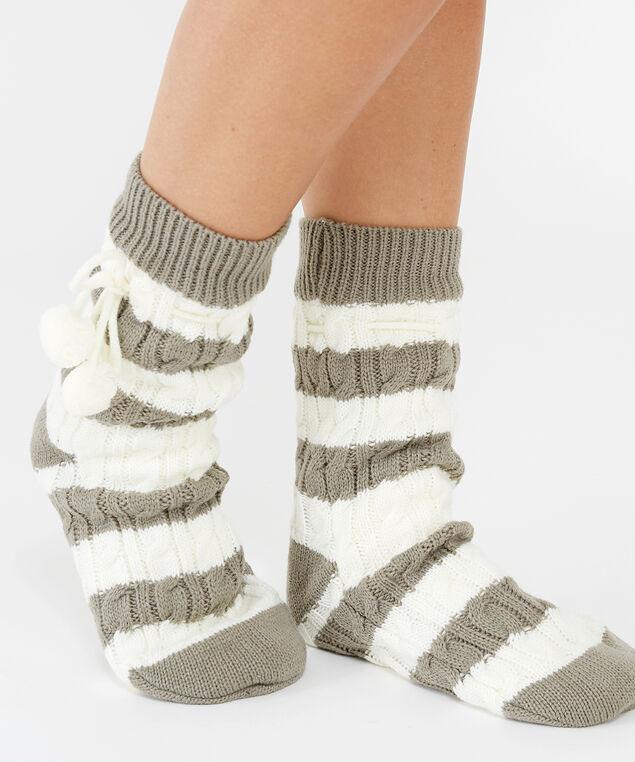cable slipper sock, Grey, hi-res