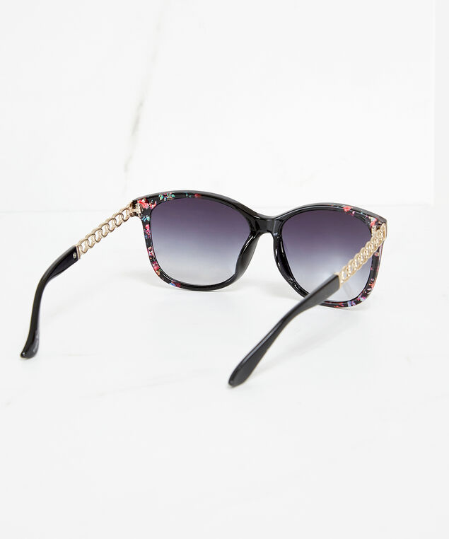 floral sunglasses with chain link arm, Floral