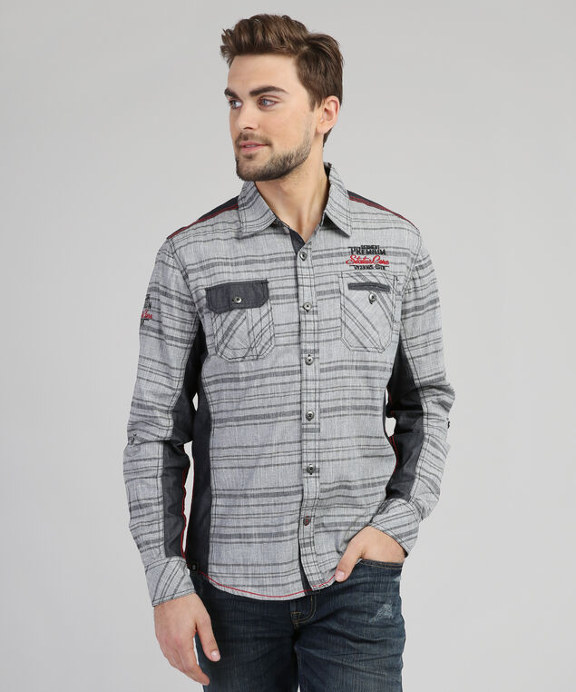 striped button-down shirt - wb, GREY/RED, hi-res