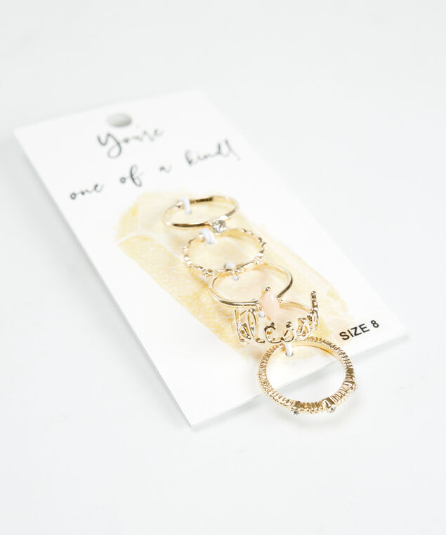 5 pack rings gold, Gold