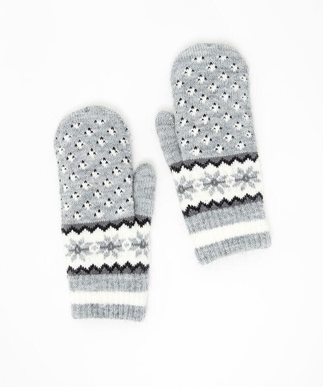jacquard mittens, GREY, hi-res