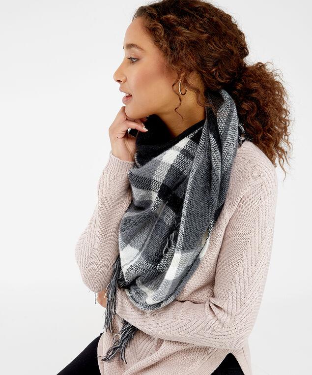monochrome plaid blanket scarf, Wht/Blk, hi-res