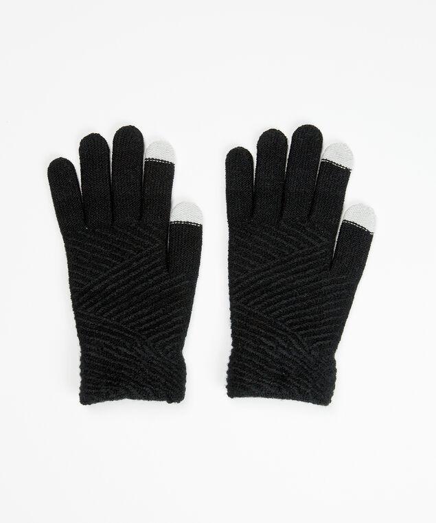 brushed texting glove, Black, hi-res