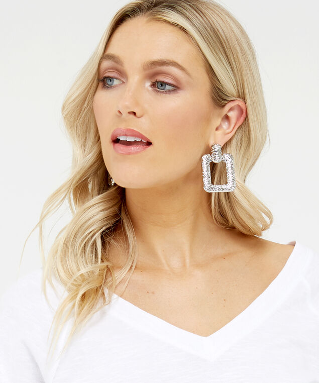 square statement earrings, Silver, hi-res
