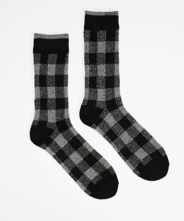 men's plaid thick socks, Grey Plaid, hi-res