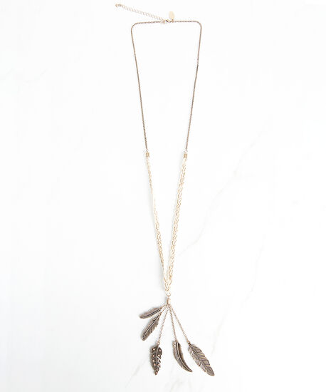 braided feather pendant, Gold, hi-res