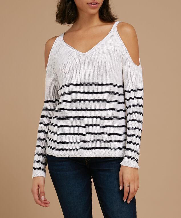cold shoulder striped sweater - wb, WHITE, hi-res