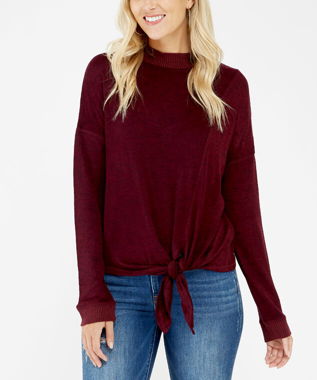 tie front top - wb, Wine, hi-res