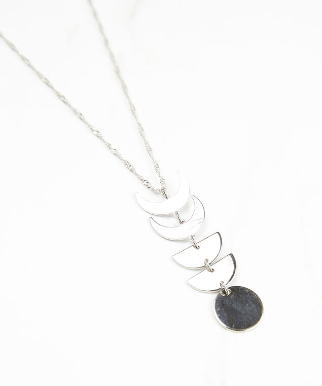 moon phases necklace, Silver