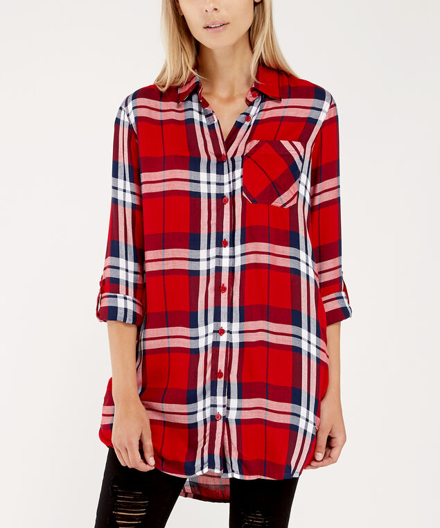 tunic plaid shirt - wb, RED PLAID, hi-res