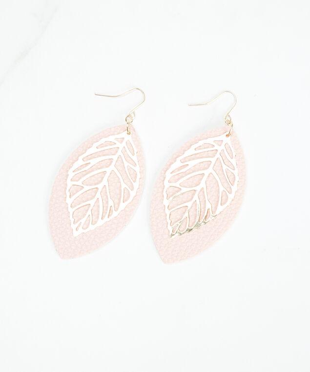 dangle leaf earrings, Pink