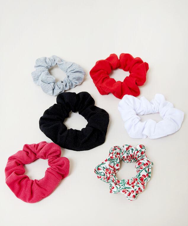 6 pack mini scrunchies, RED PATTERN, hi-res