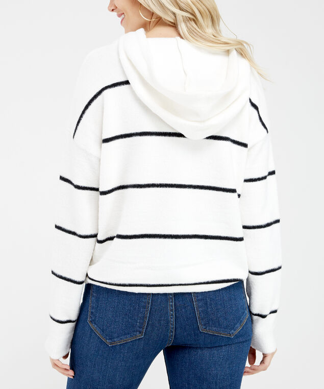 striped popover sweater - wb, White/Black, hi-res