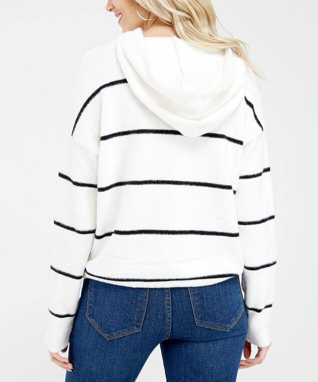 striped popover sweater - wb, White/Black, hi-res