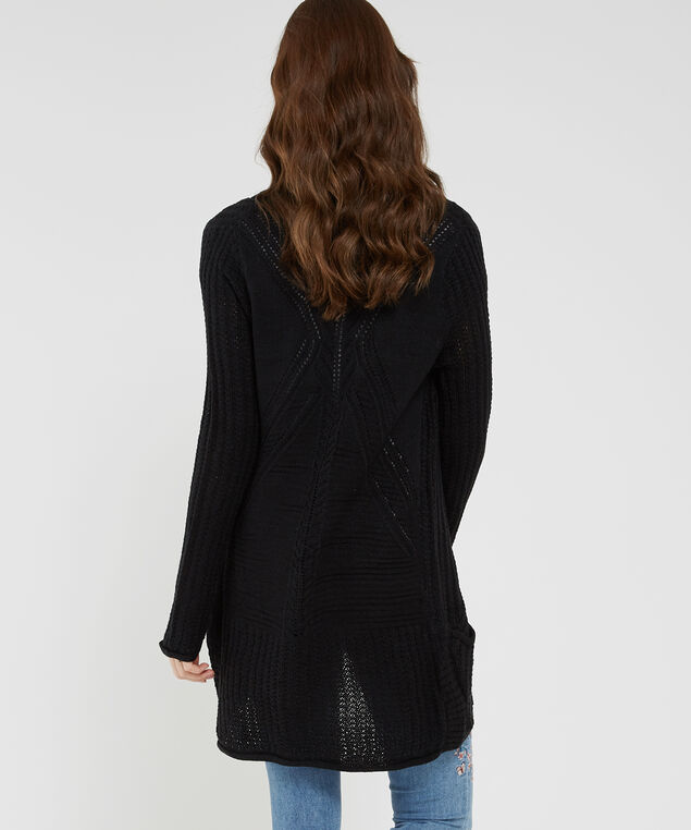 cocoon cardigan with back pointelle, BLACK, hi-res