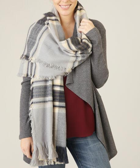 blanket scarf 0316, GREY/NAVY/CREAM, hi-res