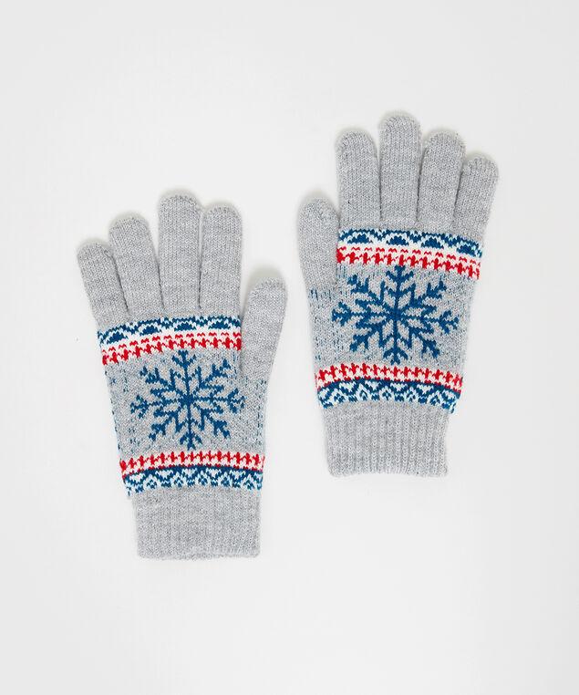 snowflake glove, GREY PATTERN, hi-res